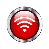 Red glossy wireless or wifi button sign on silver border — Stock Vector