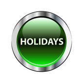 Holidays green button on white — Stock Vector