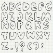 Hand drawn alphabet on line paper — Vector de stock #41107059