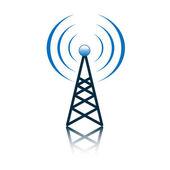Blue antenna mast sign — Stock Vector