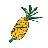 Hand drawn pineapple — Stock Vector