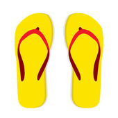 Yellow flip flop with red striped on white — Stock Vector