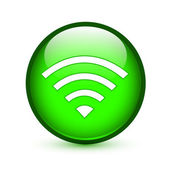 Green wifi or wireless sign glossy button — Stock Vector