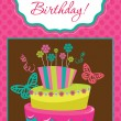 Happy birthday cake card design. vector illustration — Stock Vector