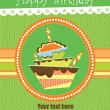 Stock Vector: Happy birthday cake card design. vector illustration