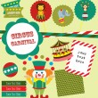Fun circus card. vector illustration — Vettoriali Stock