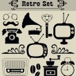 Retro objects set. vector illustration — Stock Vector