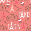 Pink red wallpaper. Paris — Stock Vector