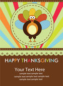 Happy Thanksgiving cute material turkey card in vector format. — Stock Vector