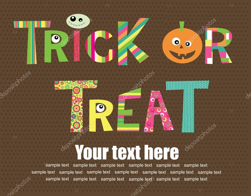 Trick or Treat Halloween text — Stock Vector #16932485