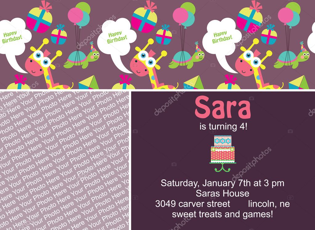 Kid invitation card design. vector illustration — Stock Vector #18637963