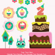 Happy birthday card design. - 图库照片