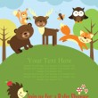 Stock Vector: Baby shower card design. forest friends.