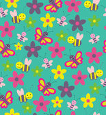 Fun insects seamless pattern. — Stock Vector