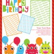 Fun monsters happy birthday card — ストックベクタ