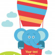 Fun baby card with elephant — Stock Vector