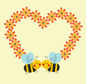 Cute card with fun bee — Stock Vector