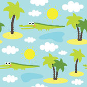 Seamless animal pattern with crocodile — Vecteur