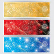 Stock Vector: Winter web banners 3 colors