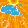 Clouds sun and bubbles vector — Stock Vector
