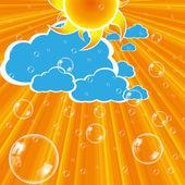 Nuages soleil et bulles le vecteur — Vecteur