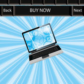 Business laptop blue abstract background — Stok Vektör