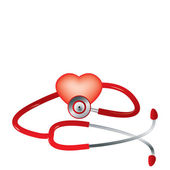 Red stethoscope and red heart vector — Stock Vector