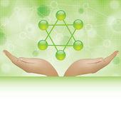 Molecule illustration green background — Stock Vector