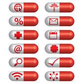 Medical banner set pills — Stock Vector