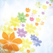 Colorful summer spring background with flowers — Stock Vector