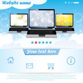 Modern website template for laptop company — Stock Vector