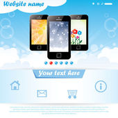 Modern website template for mobile company — Stock Vector