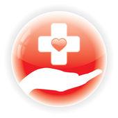 Rosso simbolo medico isolato — Vettoriale Stock