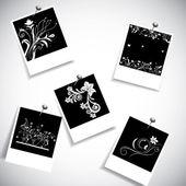 Polaroid fotoframe met creatieve bloem ontwerp — Stockvector