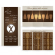 Brown menu cards for restaurant — Stock Vector