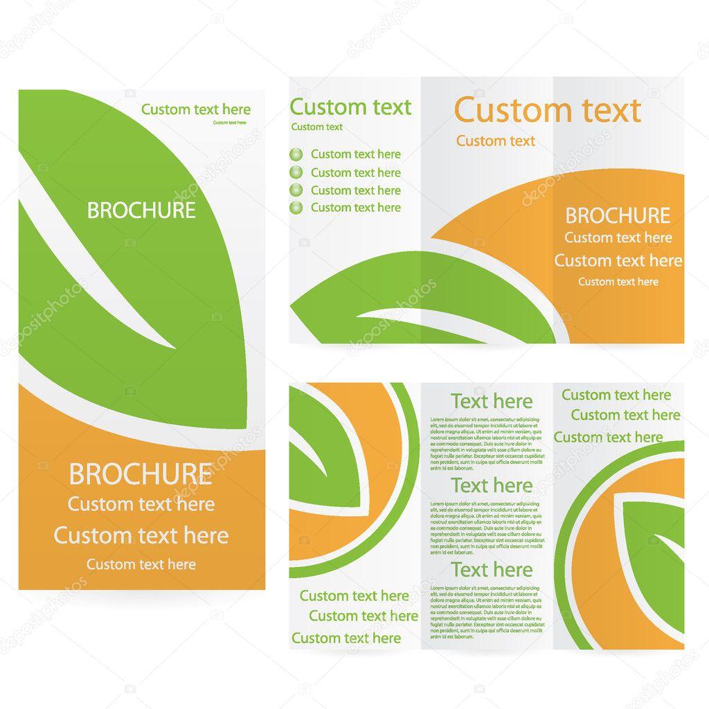 矢量宣传册版式设计模板绿色橙色环境 — 矢量图片作者 evryka23