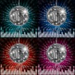 Disco ball colorful party lights — Stock Vector
