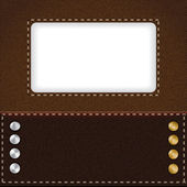 Brown leather background with metal rivets — Stock Vector