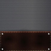 Brown leather and metal grid background — Stock Vector
