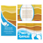 Brochure with ealistic sand in sunset lights illustration — Stock Vector