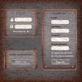 Modern rusted web card login form — Stock Vector