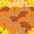 Autumn background with trees and falling leaves — Stock Vector