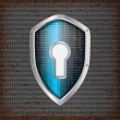 Security concept: blue shield with rusty metal background — Stok Vektör