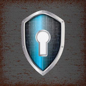 Security concept: blue shield with rusty metal background — Stock Vector