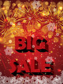 Big holiday sale with fireworks — Stock Vector