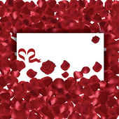 Valentines Day red petals background with messgae card — Stock Vector