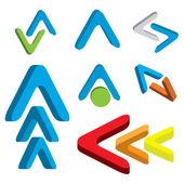 Abstract 3d arrow icon set — Stock Vector
