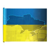 Ukraine vector map with the flag background — Stock Vector
