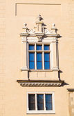 Old window in Sukiennice (Cloth Hall) square in town Krakow Poland — Foto Stock
