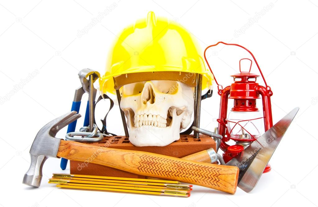 Human scull and tools on white background — Stock Photo #12976697